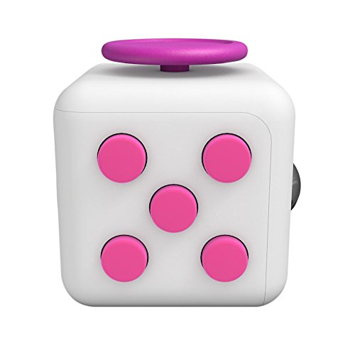 Lodabodkin Fidget Cube Relieves Stress and Anxiety for Children and Adults, Anxiety Attention Toy (White-pink)  Price: $5.36