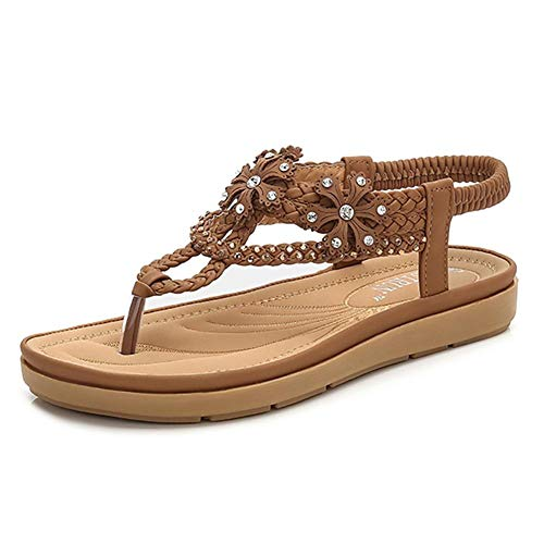 Wollanlily Women's Flat Sandals T-Strap Summer Beach Bohemian Rhinestone Flip Flops Thong Shoes (US 7, Brown) - Ladies Leather Thong