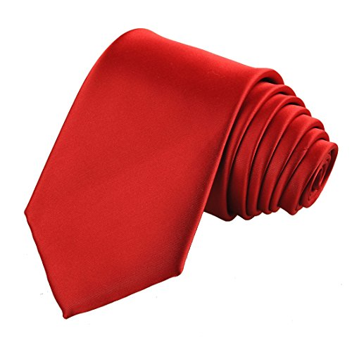 (KissTies Mens Scarlet Red Solid Satin Tie Necktie Wedding Ties + Gift Box)
