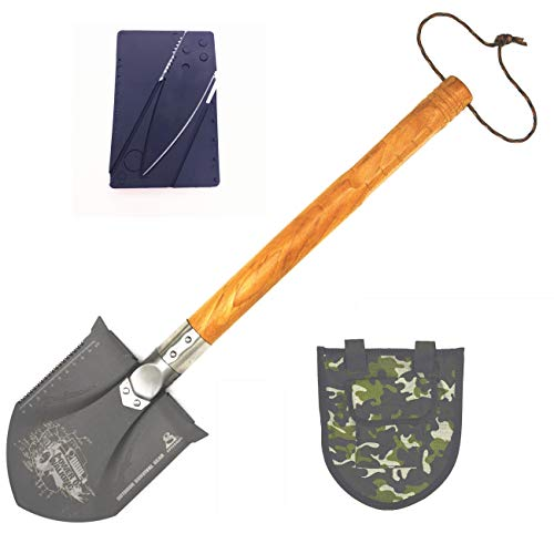 BAALAND Camp Shovel Hardwood Handle Saw/Knife Edge for Camping Metal Detecting Hiking Backpacking