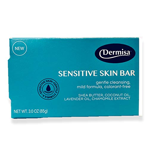 Dermisa Sensitive Skin Bar, Oat, Glycerin & Chamomile Extract, Lavender Oil, Cleansing Bar 3.0 Oz / 85 g.