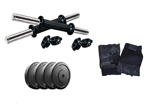 Aurion Home Gym Weight Lifting Pack 8 Kg with Genuine Leather Gym Gloves