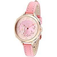 Cute Bunny Womens Girls Wrist Watches ages 7-10,Soft Pink Leather Strap Rose Golden Case (model:fq-062)