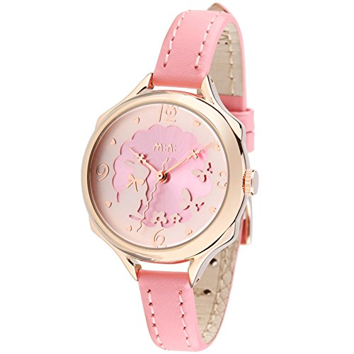 Cute Bunny Womens Girls Wrist Watches Ages 7 10 Soft Pink Leather Strap Rose Golden Case  Model Fq 062