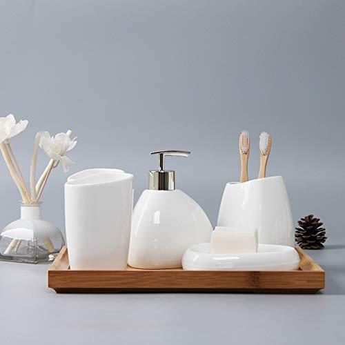 PQZATX Ceramics Accessori da Bagno Set Dispenser di Sapone//Porta Spazzolino//Bicchiere//Portasapone Tampone di Cotone Prodotti per Bagno Aromaterapia