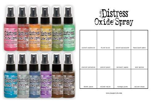 Tim Holtz Distress Oxide Spray - 12 Colors, in 2 oz Bottles, Bonus Distress Oxide Spray Color Chart - 13 Piece Bundle