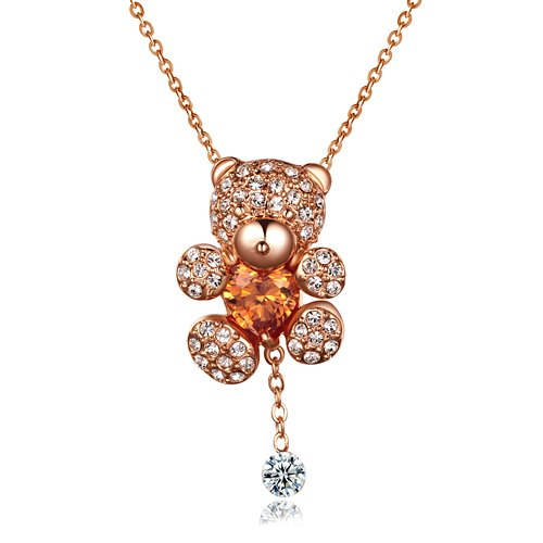 Price comparison product image Baubles N Gems 18k Rose Gold Plated Sterling Silver Swarovski Austrian Crystal Teddy Bear Necklace with Simulated Yellow Citrine
