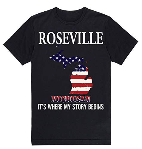 Lovely Decorations Independence Day Shirt - Roseville Michigan MI It's Where My Story Begins Black]()