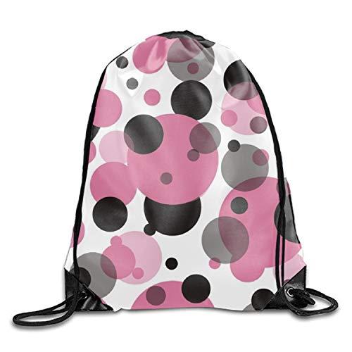 (Cool Polka Dot Drawstring Backpack Travel Sackpack Sport Gym Cinch Bag)