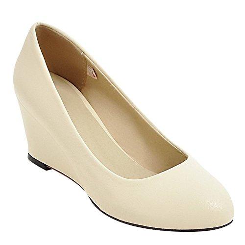 Mee Shoes Damen Keilabsatz runde einfach Pumps Beige