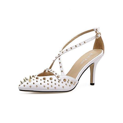 punta singolo primavera scarpe white con rivetto a alti croce ed tacchi con Calzature raffinati lady versatile La Calzature sandali e estate nuova ZHZNVX donna qxvnEw7HgC