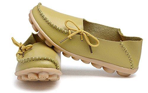 Lonsoen Mocasin Para Mujer Zapatos De Conducción Casual Mocasín De Cuero Sólido Y Slip En Botes Planos Verde Manzana