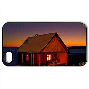 LIGHTED WINTER HOUSE - Case Cover for iPhone 4 and 4s (Houses Series, Watercolor style, Black)