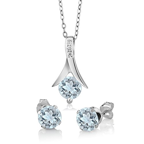 - 2.25 Ct Round Aquamarine 925 Sterling Silver Pendant and Earrings Set With 18 Inch Silver Chain