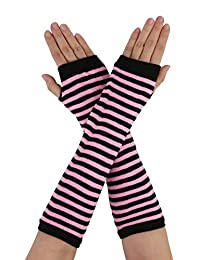 uxcell Women Men Black Pink Stripe Print Elbow Length Fingerless Arm Gloves Pair