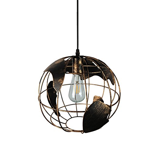 Earth Globe Map Chandelier, Industrial Vintage Iron Wrought Sphere Barn Pendant Lampshade Bronze Round Hanging Light Fixture Creative Loft Geometric Lamp for Resturant Bedroom Office - 11.8 inches Dia by MOTENT