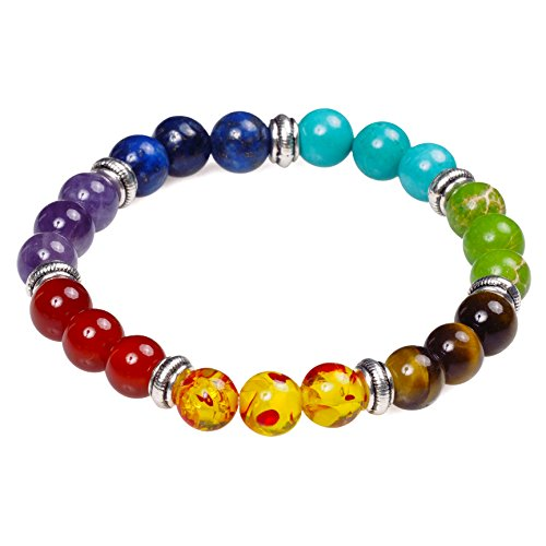 - 7 Chakra Healing Bracelet with Real Stones, Mala Meditation Bracelet - Women's Religious Jewelry - Wrap, Stretch, Charm Bracelets - Protection, Energy, Healing 7.5 in …