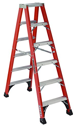 Louisville Ladder FM1506 Fiberglass Twin Front Ladder, 6-Feet, 300-Pound Duty Rating - Twin Platform Step Ladder