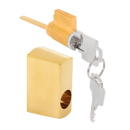 Prime-Line Products E 2680 Sliding Door Keyed Locking Unit, Brass, Diecast