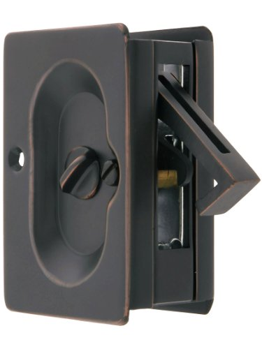 Premium Quality Mid-Century Pocket Door Privacy Lock Set In Oil-Rubbed Bronze (Brass Bronze Oil Rubbed Emtek)