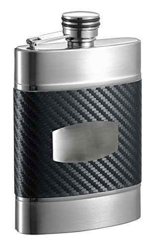 Visol Buckingham Carbon Fiber Patterned Leatherette Liquor Flask, 6 oz, Black