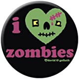 David & Goliath I Heart Zombies Button 81492