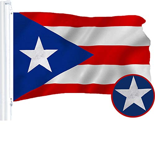 G128 - Puerto Rico (Puerto Rican) Flag | 3x5 feet | Embroidered 210D - Indoor/Outdoor, Vibrant Colors, Brass Grommets, Quality Polyester
