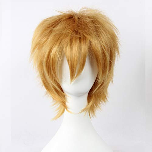(HOOLAZA Light Brown Short Layered Wig Kagamine Len Ao No Exorcist for the Halloween Party Cosplay)