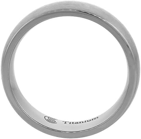 Titanium 4mm Wedding Band Thumb Ring Brushed Finish Domed Comfort Fit, sizes 7 - 13