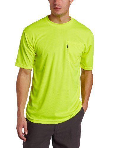 Regular Large Hi Visibility - Key Apparel Men's Short Sleeve Enhanced Visibility Waffle Weave Pocket Tee Shirt, Hi-vis, Large-Regular