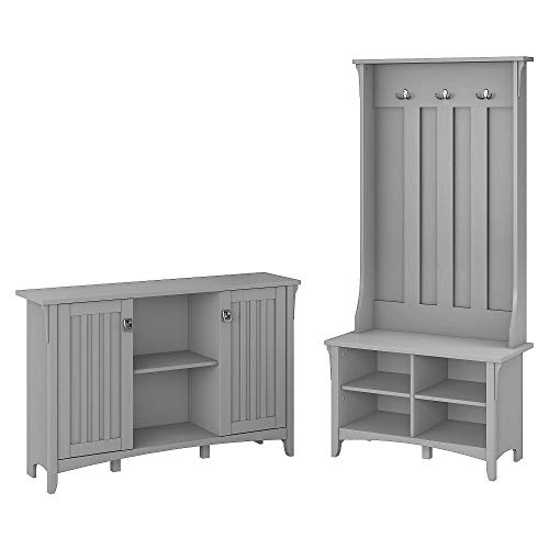 Bush Furniture  Salinas Entryway Storage Set with Hall Tree, Shoe Bench and Accent Cabinet, Cape Cod Gray