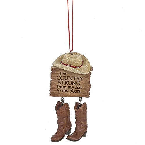 Country Strong From Hat to Boots 2 x 4 Inch Resin Christmas Ornament]()