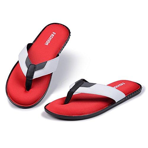 YIRUIYA Mens Flip Flops Lightweight Soft Casual Sandals Slippers White-red 0BF5TIF3H