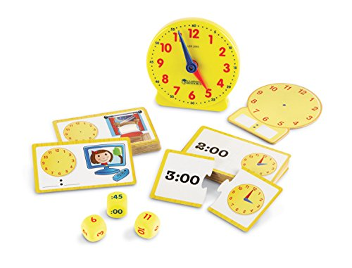 Learning Resources Time Activity Set, Analog Clock, Tactile Learning, 41 Pieces, Ages 5+