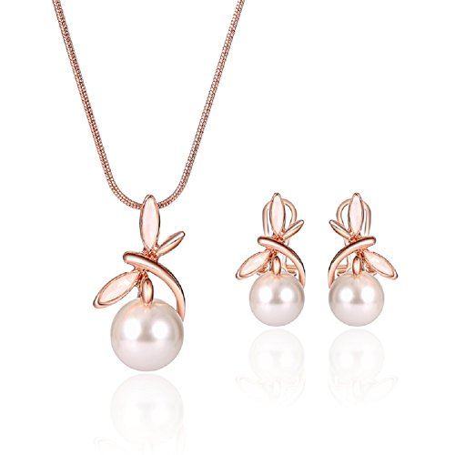 Elegant Pearl Necklace Drop Earrings Sets 丨Rose Gold Jewelry Set for Wowen Girl Wedding Bridal Party Gold Pearls Necklace Set
