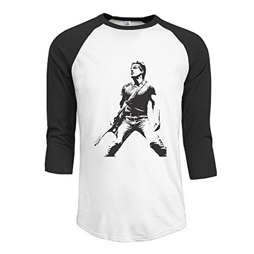Men's Bruce Springsteen 100% Cotton 3/4 Sleeve Athletic Baseball Raglan Tee Shirts Black US Size XXL