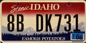 Idaho License Plate - Idaho Famous Potatoes