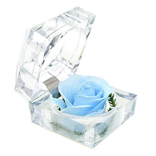Monrocco Rose Acrylic Ring Box Preserved Flower Ring Box Holder Wedding Ring Box Jewelry Box ()