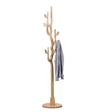JIAYING Percheros 10 Ganchos Simplicidad creativa Acabado para pisos de madera maciza Entrada Estante de pie Perchero Perchero de árbol de árbol ...