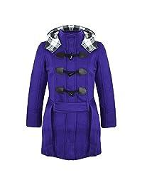a2z4kids New Kids Girls Fleece Duffel Coat Hooded Long Belted Jacket Size 7-13 Years