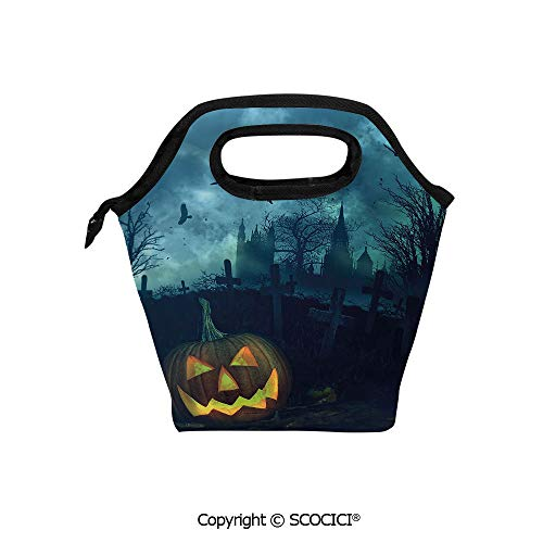 Insulation portable lunch box bag Halloween Pumpkin in Spooky Graveyard Eerie Gloomy Stormy Atmosphere Soft Fabric lunch bag Mummy bag.]()