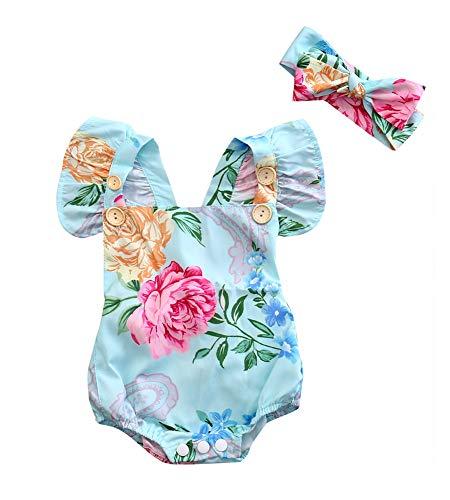 (Baby Girls Jumpsuit Newborn Infant Kids Floral Clothes Summer Romper Bodysuit Sundress Outfits (0-6 Months,)