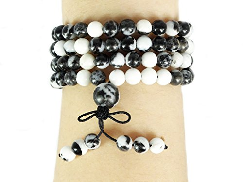 Necklace Jasper Zebra - jennysun2010 Handmade Multi-Purpose Natural 6mm Black and White Zebra Gemstone Buddhist 108 Beads Prayer Mala Stretchy Bracelet Necklace Healing 26