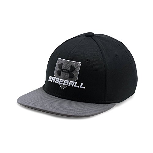 Under Armour Boys' Baseball Emboss Cap, Black /White, Youth X-Small/Small