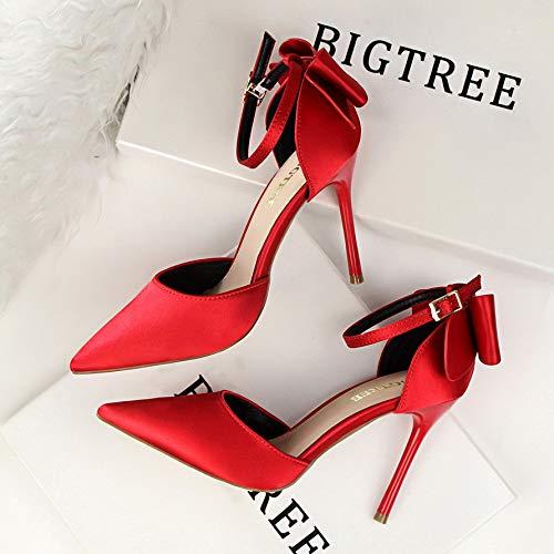 Yukun zapatos de tacón alto Season Bow Zapatos De Mujer con Tacones De Aguja En Punta Hebilla De Palabra con Sandalias Rojo, 37, Rojo Vino Red