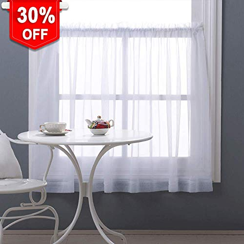 NICETOWN Half Window Sheer Curtains 36 inch Length, Soft Voile Sheer Valance Tier for Basement/Bathroom/Bedroom, W60 x L36, 1 Piece, White (Curtains Inch 36 Sheer)