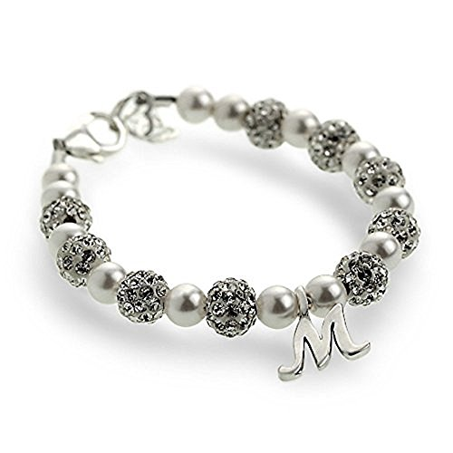Crystal Dream Personalized Sterling Silver Initial with Swarovski Simulated Pearls Baby Bracelet (Personalized Sterling Silver Crystal)
