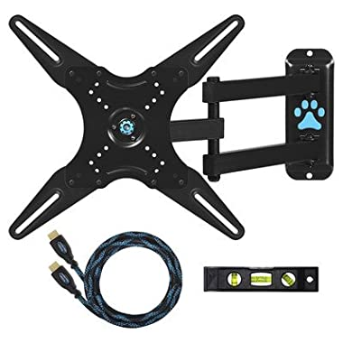 "Cheetah Mounts ALAMLB Articulating (20"" Ext) TV and Monitor Wall Mount for 20-57  (some up to 65 ) LCD LED Plasma Flat Screens up to VESA 400x400. Full Ballhead Tilt, Swivel, and Rotation. Includes a 10' Twisted Veins HDMI Cable and Bubble Level"