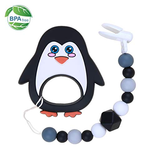 Baby Teething Toys BPA Free Soft Silicone Teething Relief Pacifier Clip with Penguin Teether Set for Newborn Babies - Freezer Safe Baby Shower Gift Idea for Stylish Little Boys and Girls