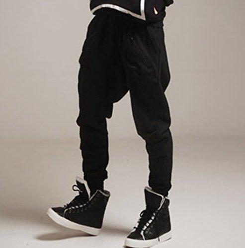 Stylish Casual Sport Sports Saggy Harem Cording Pants Trousers for Men Boys – Black Size M